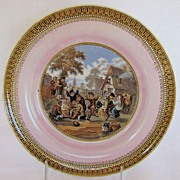 "F&R Pratt Plate, Pink Ground, ""Village Wedding"", Antique 19th C English"