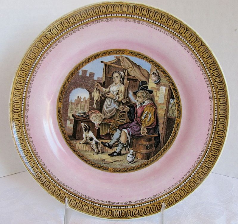 "F&R Pratt Plate, Pink Ground, ""The Poultry Woman""  Antique 19th C English"