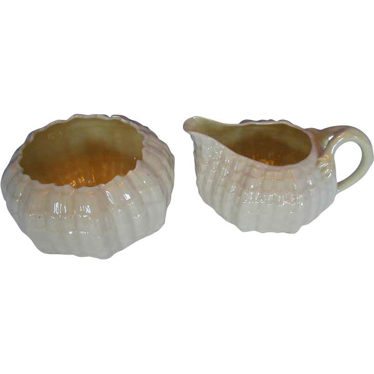 Irish Belleek  Cream Jug & Open Sugar, Tridacna Pattern, Large, Black Mark