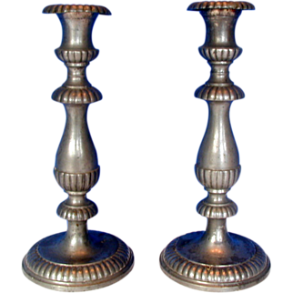 Pewter Candlesticks, Pair, Antique 19th C American