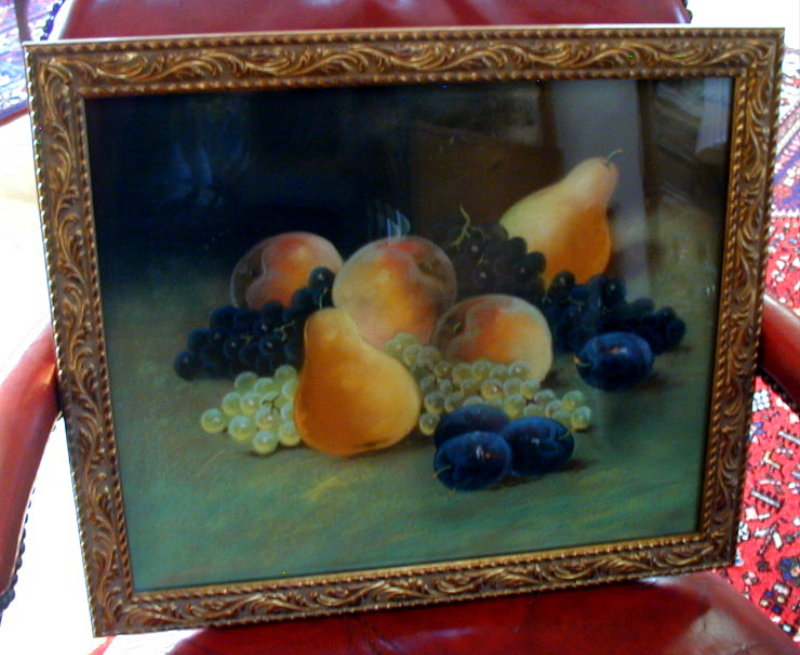 Pastel Painting, Still Life with Fruit, Signed, Antique 19th C American