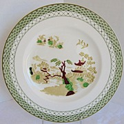 Woods Dinner Plate, Hankow, Vintage Green & Polychrome Transferware Willow Variant