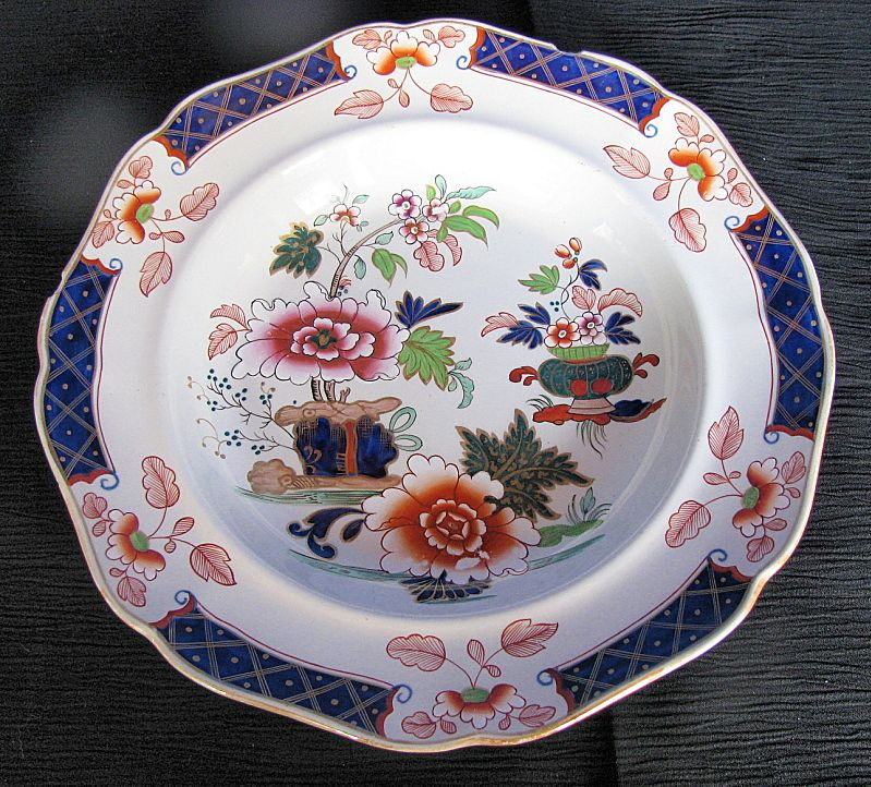 John Ridgway Soup Plate, Imperial Stone China, Chinoiserie, Antique Early 19th C