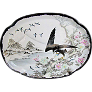 Rare Black Kutani-Style Tray or Platter, Eagle in Snow,  Antique Japanese, Signed