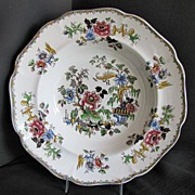 Zachariah Boyle Soup Plate,  Indian Plants, Antique English  c 1825