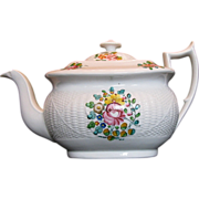 New Hall Teapot,  Staffordshire Porcelain, Basket Weave,  Antique Early 19th C English