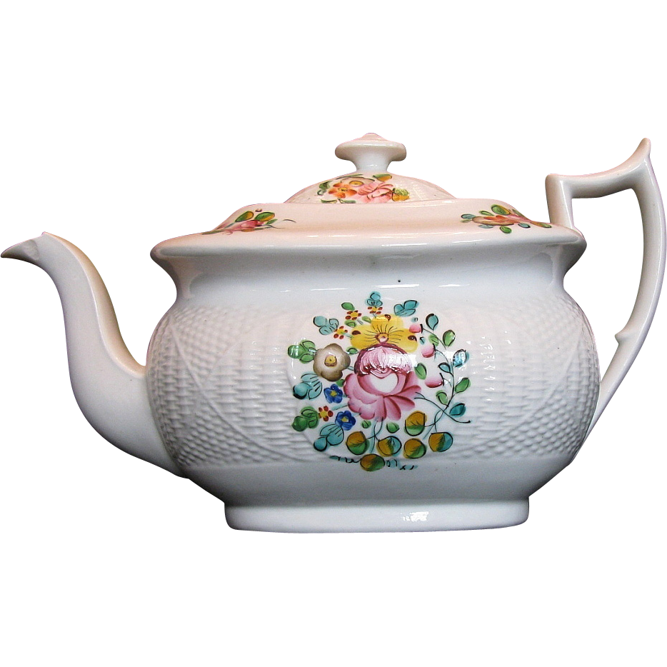 New Hall Teapot,  Staffordshire Porcelain, Basket Weave,  Antique 19th C English