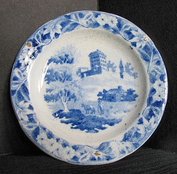 Hackwood Toy Plate, Institution or Monastery Hill, Blue, Antique Early 19th C English
