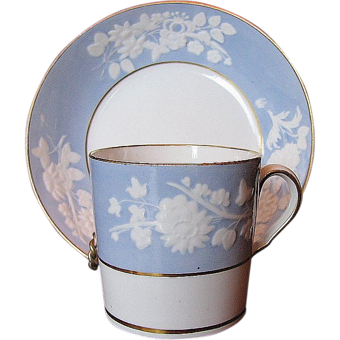Spode Coffee Can & Saucer, Lavender Blue, Embossed Florals, Antique Early 19th C