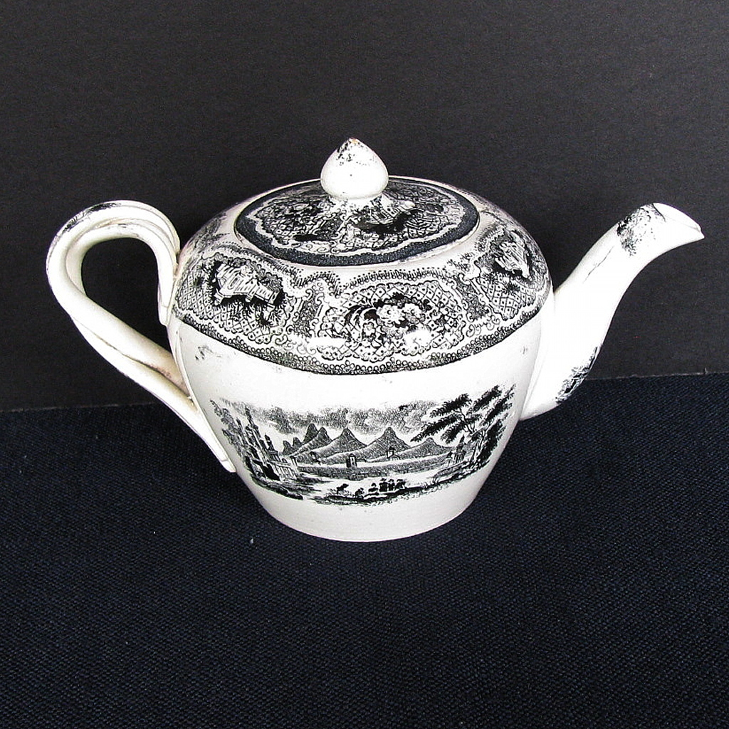 English Teapot,  Entwined Strap Handles, Black Transferware