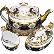 Spode Tea Set, Early 19th C, Teapot,  Creamer, Sugar, & Stand,  Blue & Gold