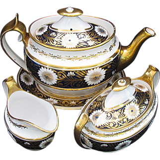 Spode Tea Set, Early 19th C, Teapot,  Creamer, Sugar, & Stand,  Blue & Gold