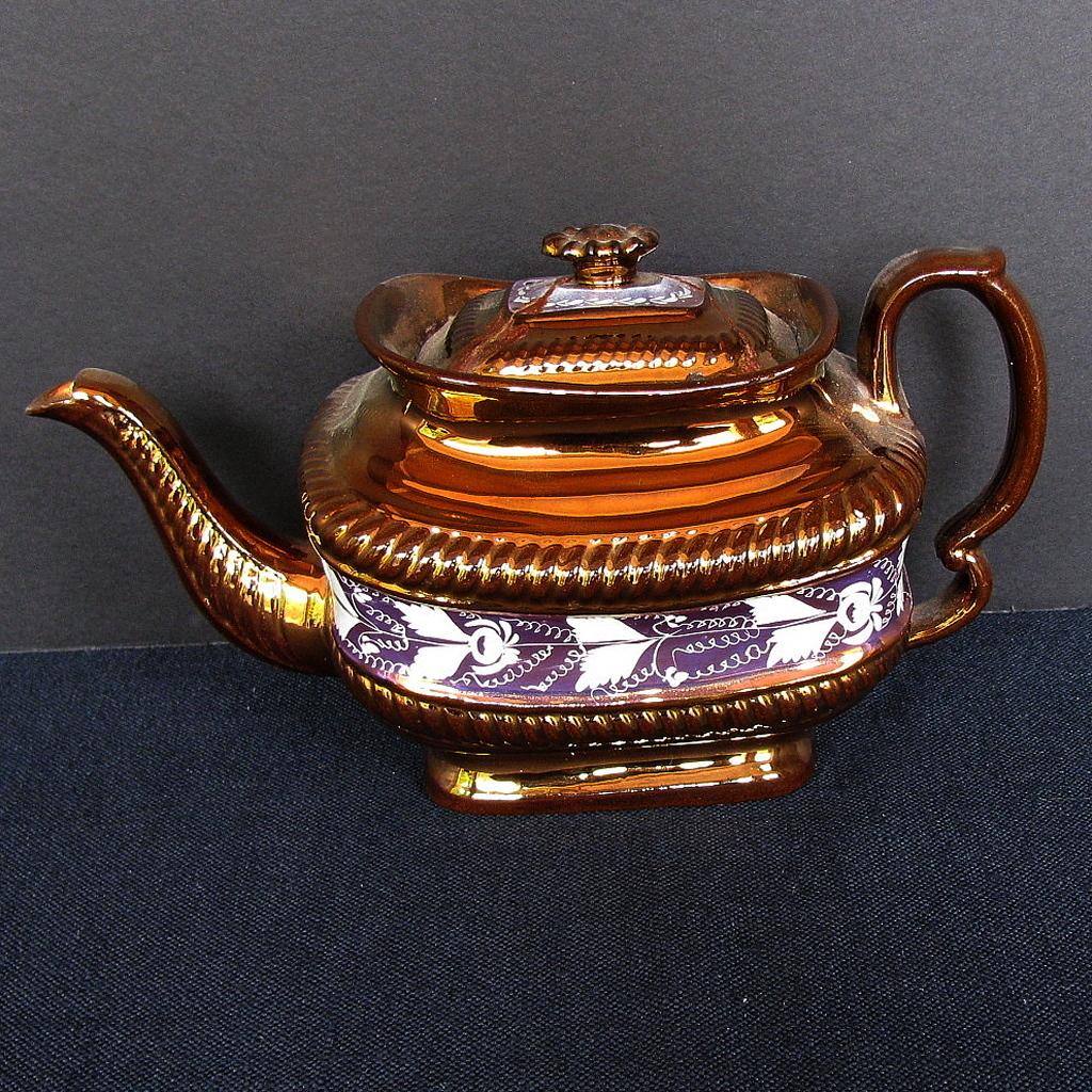 Copper Lustre Teapot,  As Is, Study Piece, Antique 19th C English