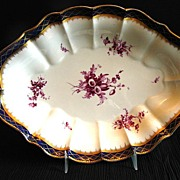 Royal Worcester Large Oval Bowl, Blue and Gold, Antique 19th C