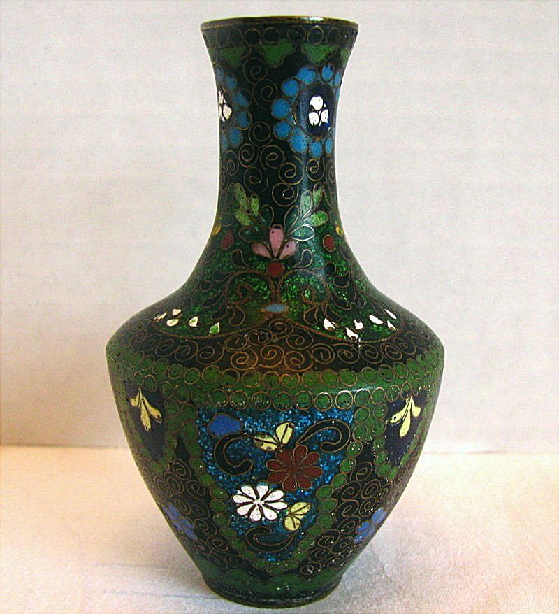 Japanese Cloisonne Vase With Ginbari Small Antique Meiji Era