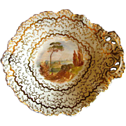 English Dessert Dish, Handpainted Landscape, Antique 19th C Porcelain