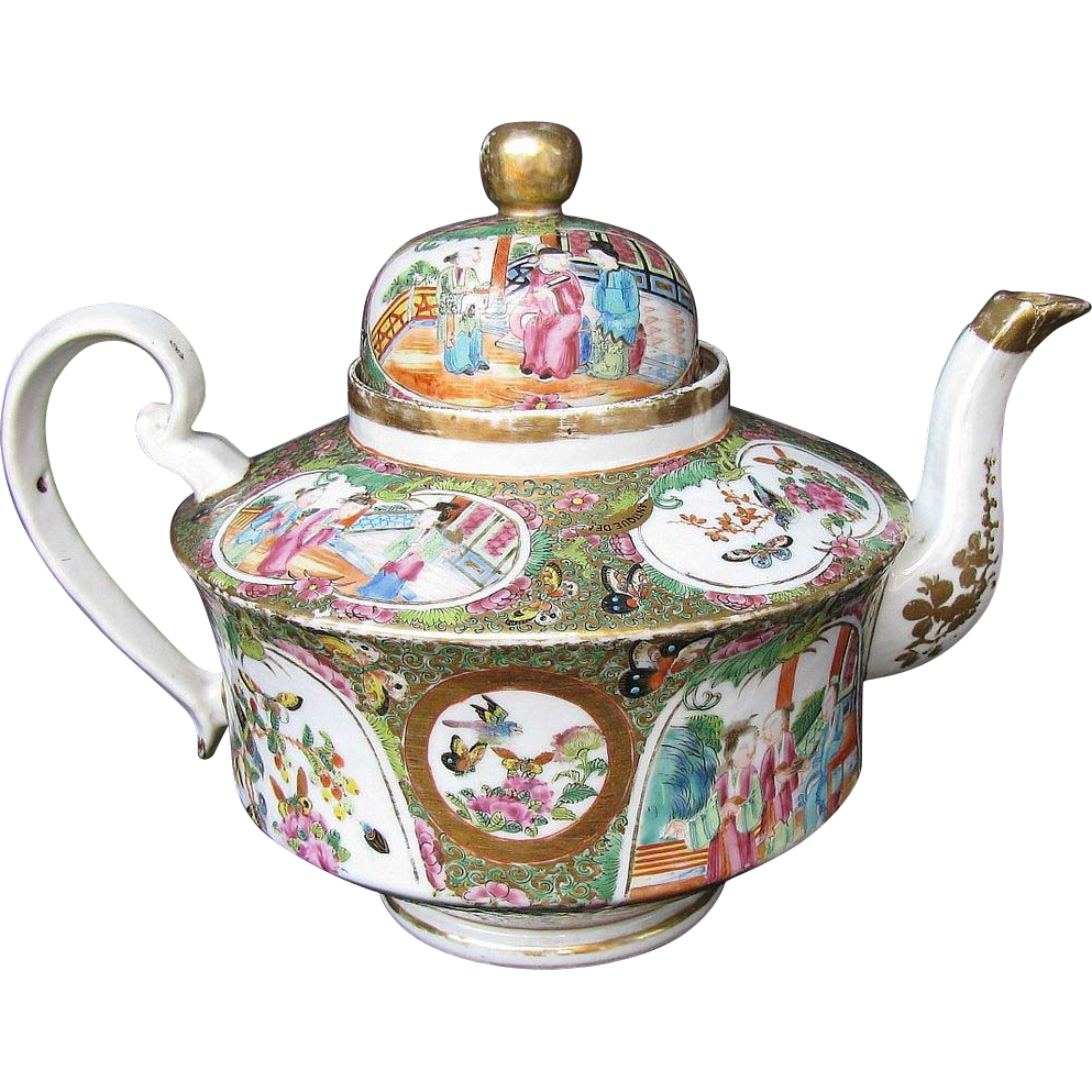Rose Mandarin Teapot, Large, Gold in Hair, Antique 19th C ...