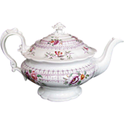 John Ridgway Teapot, Bone China, Rare Form, 19th C English, c1830