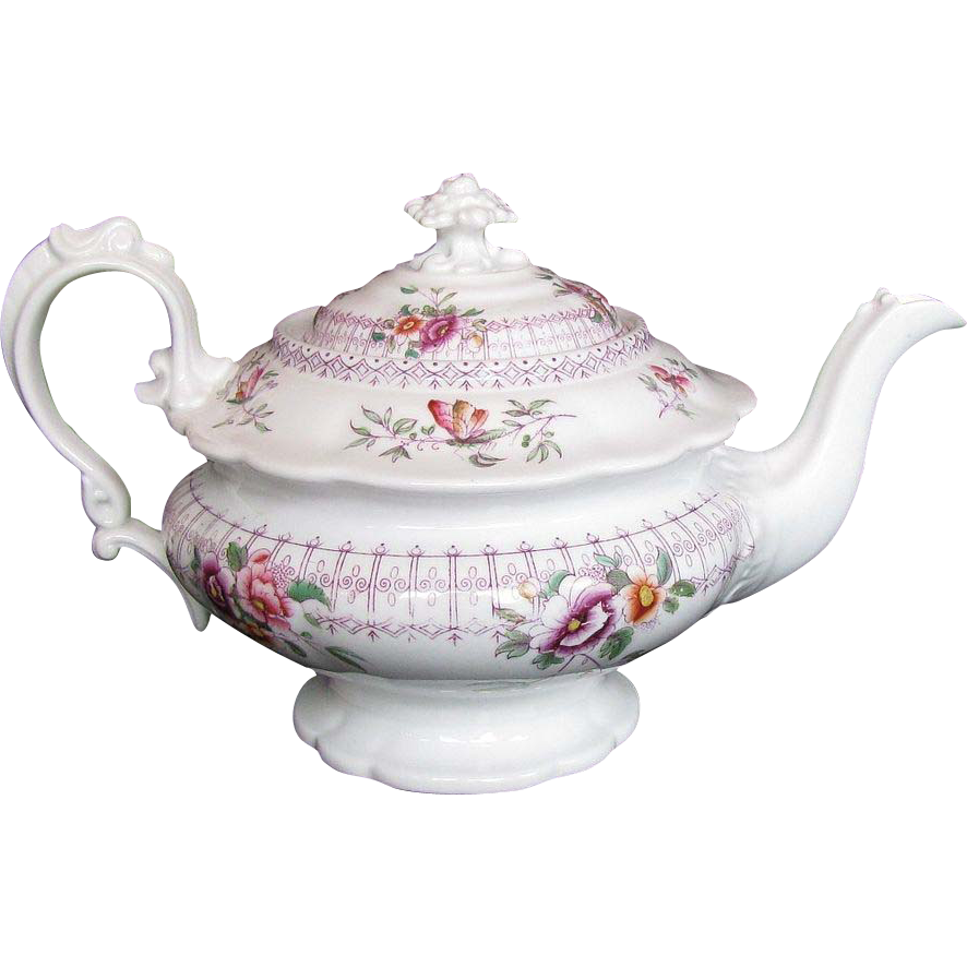 John Ridgway Teapot, Bone China, Rare Form, 19th C English, c1830
