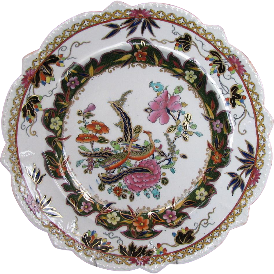 Early Mason Ironstone Shaped Plate, Chinoiserie, Gilded Geese, antique, c 1820