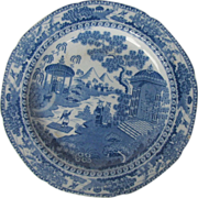 "English Chinoiserie Plate, Blue & White ""Chinese Raft"", Antique,  c 1810"