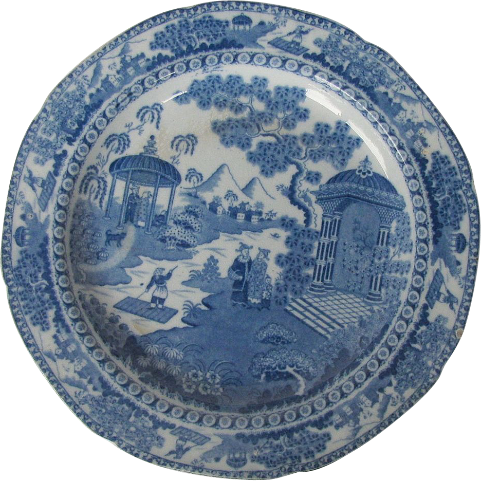 "English Chinoiserie Plate, Blue & White ""Chinese Raft"", Antique Early 19th C"
