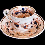 "Samuel Alcock Porcelain Cup & Saucer, ""Melting Snow"", English Imari,  Antique c 1820"