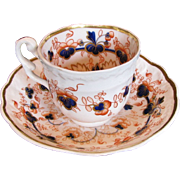 "Samuel Alcock Porcelain Cup & Saucer, ""Melting Snow"", English Imari,  Antique Early 19th C"