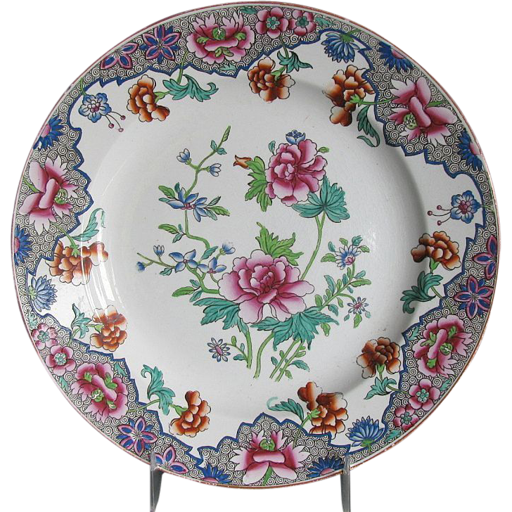 "Spode Plate, Antique Early 19th C Floral Chinoiserie,  ""Ship Border"""
