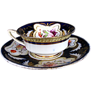 H. & R. Daniel Cup & Saucer, Blue & Gold, Antique 19th C English