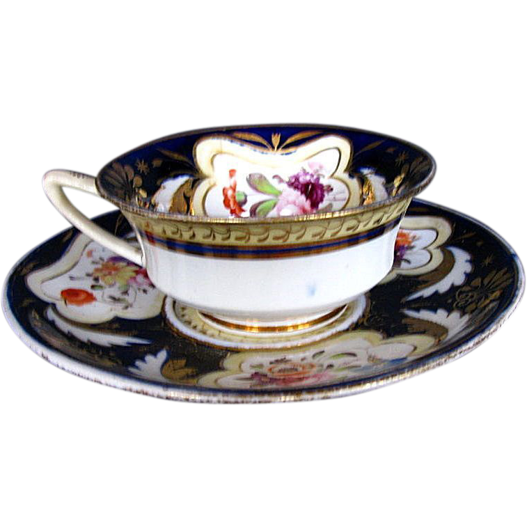H. & R. Daniel Cup & Saucer, Blue & Gold, Antique Early 19th C English