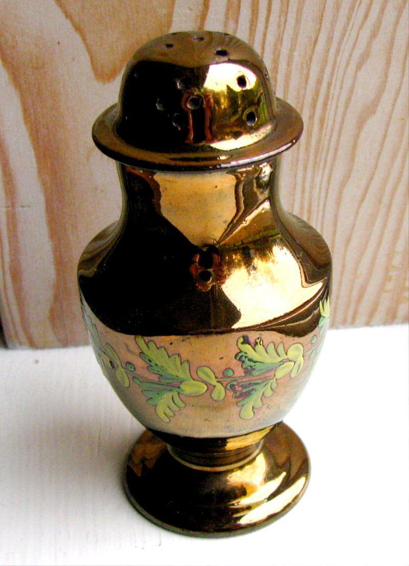 copper lustre pepper pot enameled flowers antique 19th c. Black Bedroom Furniture Sets. Home Design Ideas