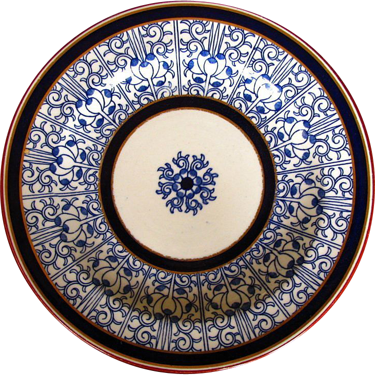 "Royal Worcester Dinner Plate, ""Royal Lily"" Vitreous,  Antique 19th C"
