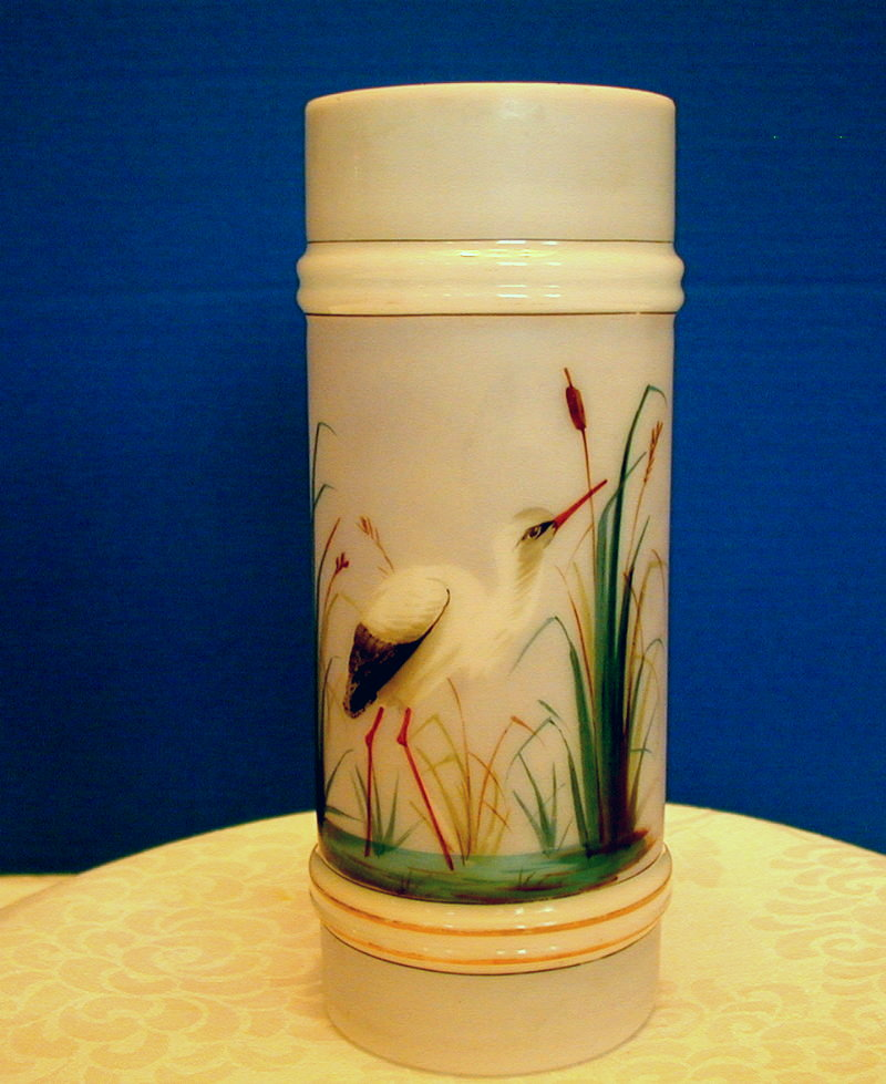 Mt. Washington Glass Ring Vase, Stork in Cattails, Smith Brothers, Antique