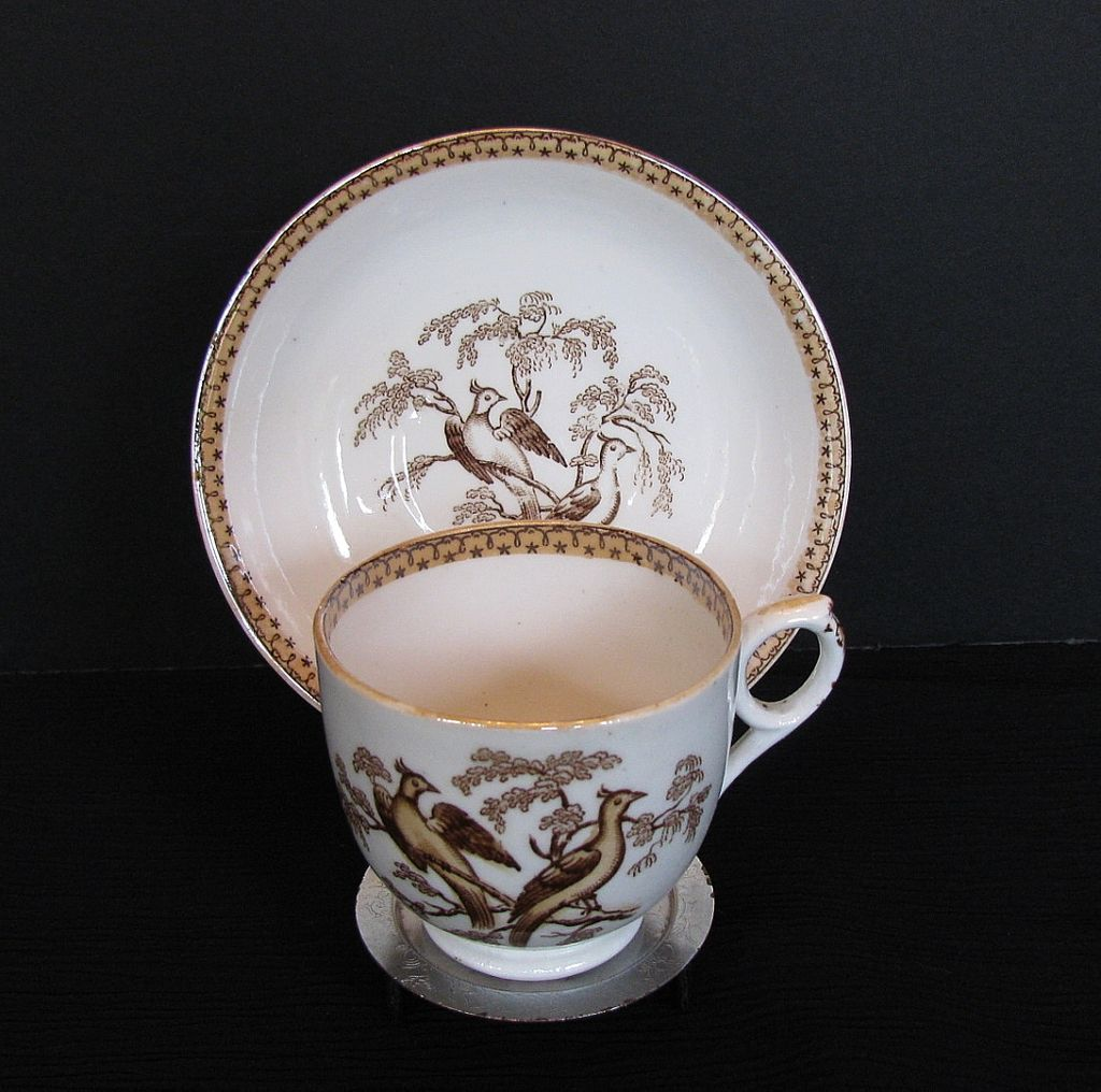 English Cup & Saucer, Pheasants Pattern, Antique 19th C Porcelain