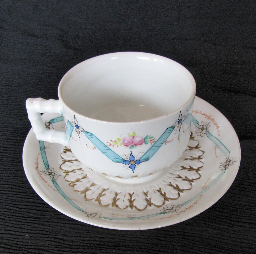 Bodley Breakfast Cup & Saucer, Blue Ribbons & Flowers, Antique English c1875