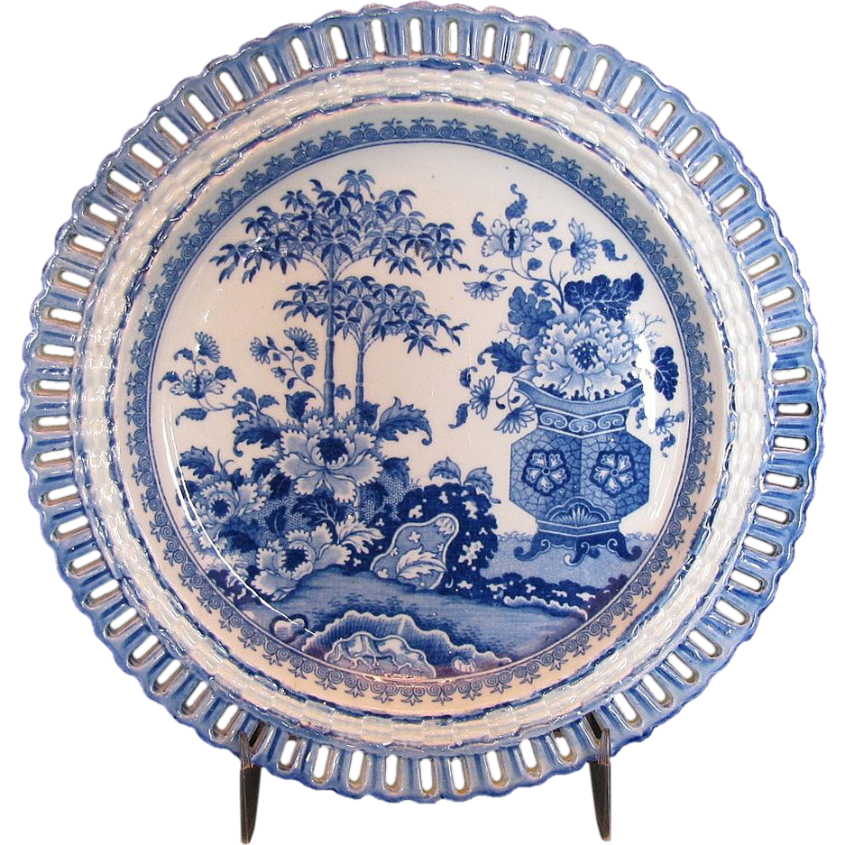 Minton Arcaded Plate, Blue & White,  Bamboo & Flowers Pattern,  Early 19th C Antique