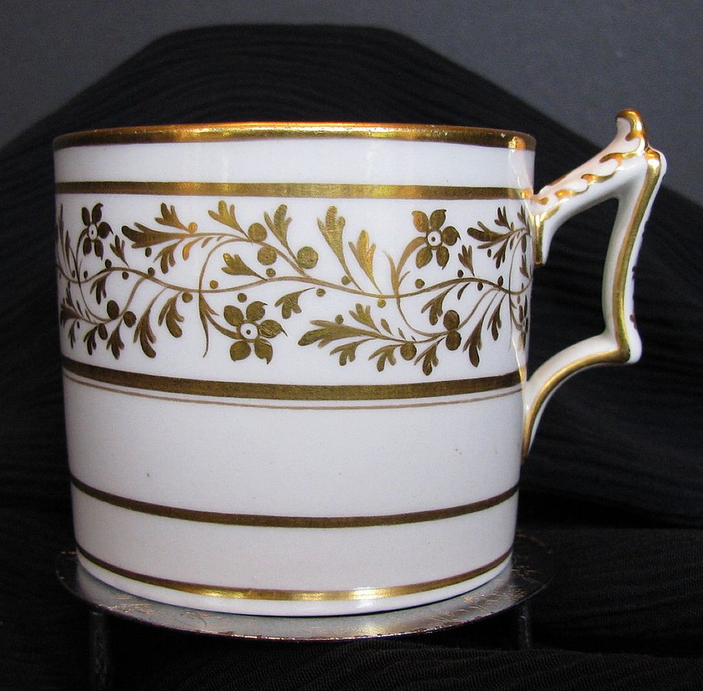 Worcester Coffee Can, Flight, Barr & Barr, Gilded,  Antique Early 19th C English Porcelain