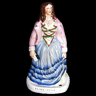 Eliza Cook Staffordshire Figure, English Poet, Antique c 1850