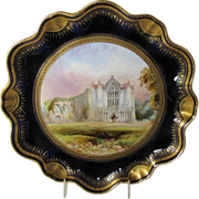 Antique Aynsley Cabinet Plate, Bolton Abbey, signed Birbeck, 19th C