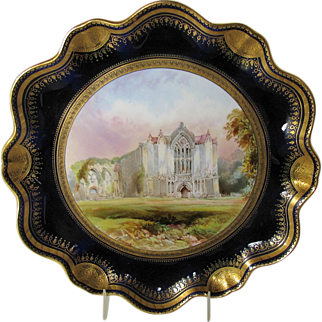 Antique Aynsley Cabinet Plate, Bolton Abbey, Cobalt & Gold, signed Birbeck