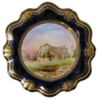 J. Birbeck Hand Painted Cabinet Plate, Rievaulx Abbey, Cobalt & Gold, Antique 19th C