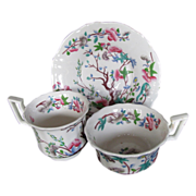John Rose Coalport Trio, 2 Cups + 1 Saucer, Antique Chinoiserie c 1825