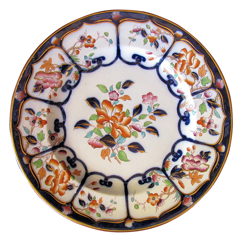 William Brownfield Chinoiserie Plate, Peony & Blossoms, Imari Colors, Antique 19th C