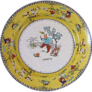 English Chinoiserie Plate, Chinese Children, Canary Yellow, Bishop & Stonier, Vintage