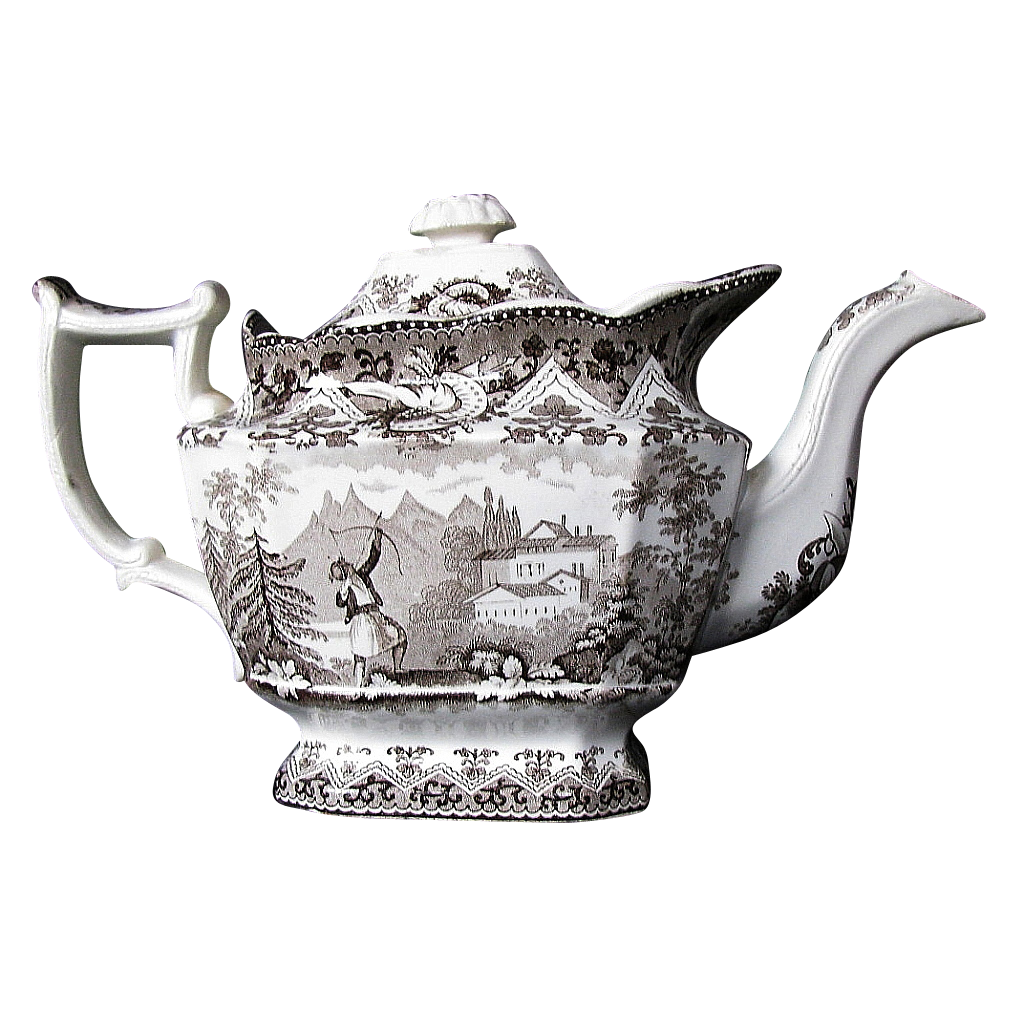 Davenport Teapot, Turkish Archer Pattern, AS-IS, Antique 19th C