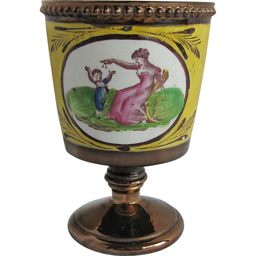Copper Lustre Goblet, Rare Canary Yellow Ground, Mother & Child, Antique c1810