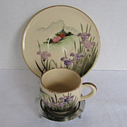 Satsuma Tiny Cup and Saucer with Iris & Pagoda, Vintage Japanese