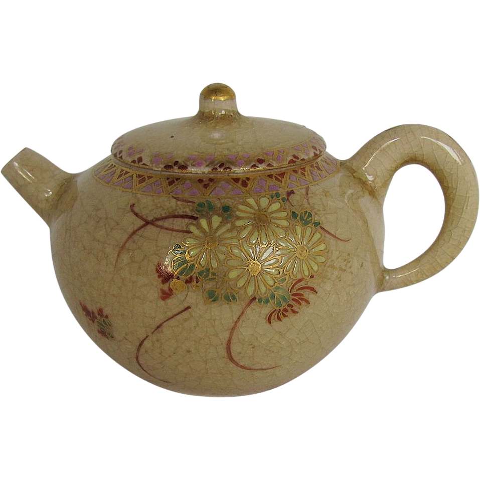 Miniature Satsuma Teapot, Signed, Antique Meiji Era Japanese