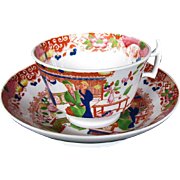 "S & J Rathbone Cup & Saucer, ""Tea House"", Antique 19th C English Chinoiserie"